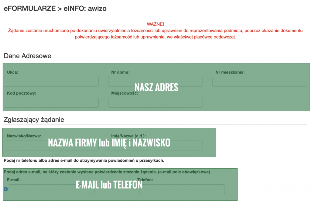 Zrzut ekranu formularz eAWIZO