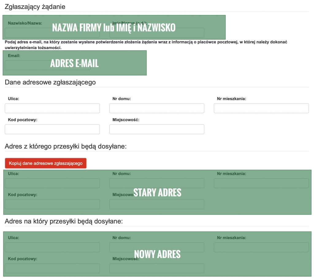 e-formularz żądanie dosyłania